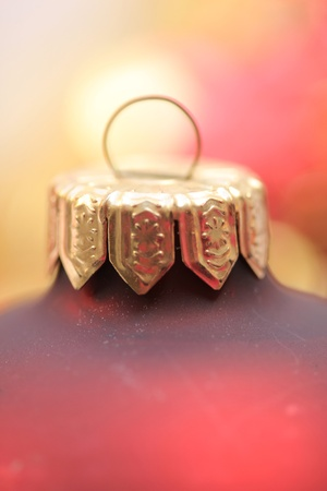 detail of a red Christmas ornament in extreme close-up photo