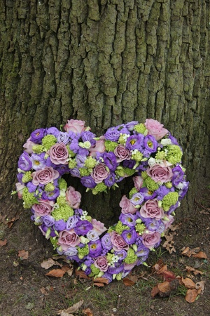 Heart shaped sympathy flowers in different shades of purple Stock Photo - 21052134
