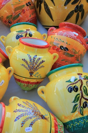 Pottery from the Provence: traditional olive patterns and colors photo