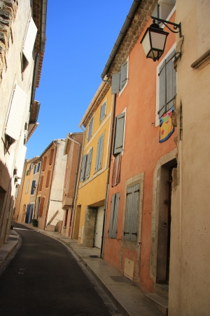 bedoin: Colored houses in the village of Bedoin, France Editorial