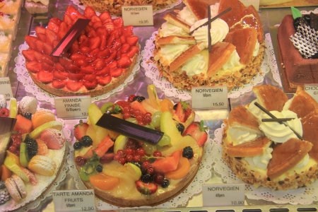 French pastry on display in a French shop photo