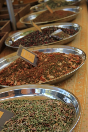 Herbs and spices at a market in the Provence, France photo