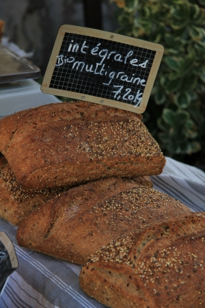 Luxury French types of bread at a French market photo