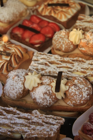 Luxerious fruit pastry in a French restaurant photo