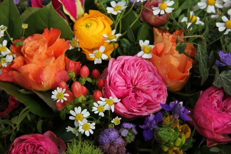 Mixed spring bouquet in various bright colors photo