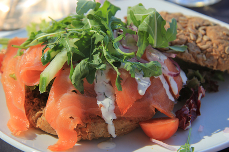 Smoked salmon sandwich with lettuce and cucumber photo
