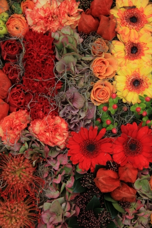autumn arrangement: Gerberas and roses in an autumn arrangement Stock Photo