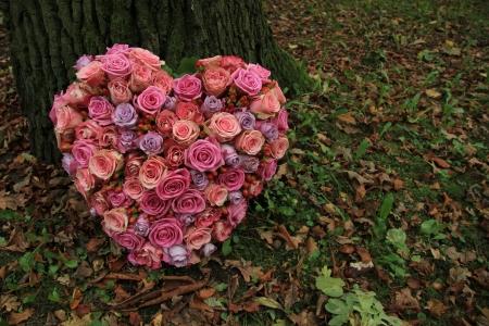 ハート同情フラワーアレンジメント、木の近く: さまざまな色合いのピンクのバラ
