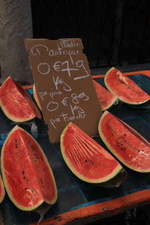Slices of watermelon at  a French market photo