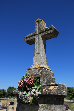 fench: Tombstone at an old Fench cemetary in the Provence, France