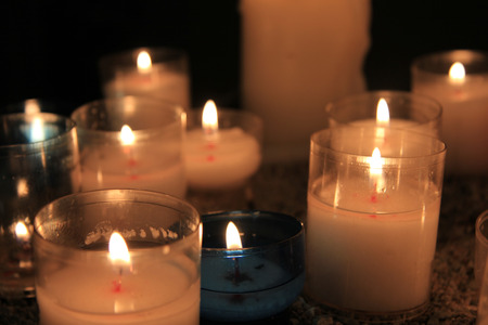 votive: Votive candles, burning in a French Roman Catholic church