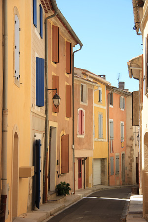 bedoin: Colored houses in the village of Bedoin, France Stock Photo
