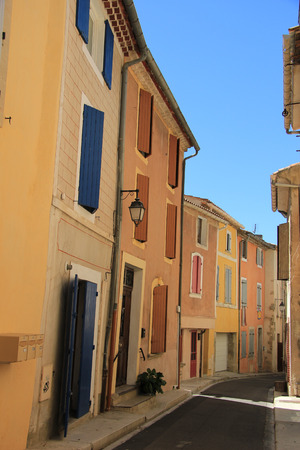 Colored houses in the village of Bedoin, France Stock Photo