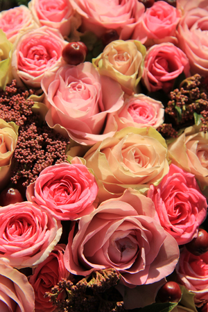 pastel shades: Pastel roses in different shades of pink in a bridal arrangement Stock Photo