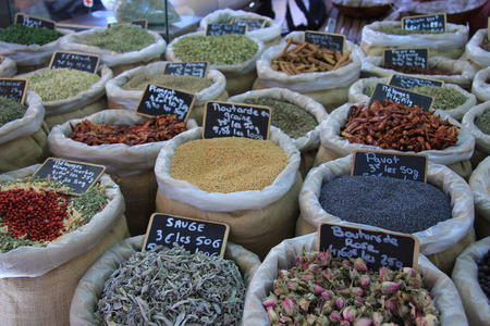 Herbs and spices at a Provencal market in France photo