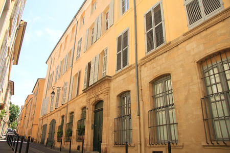 Street with traditional facades in Aix en Provence, France photo