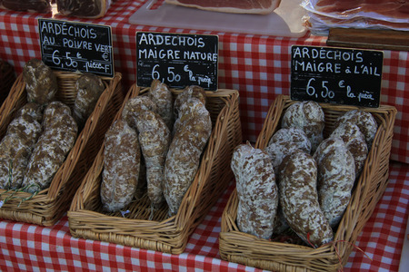 tradional: Sausages at a Provencal market in France Stock Photo
