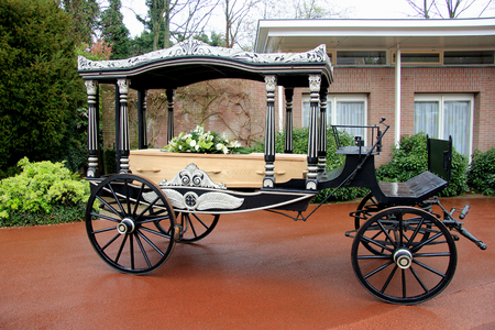 hearse: Classic funeral carriage with coffin
