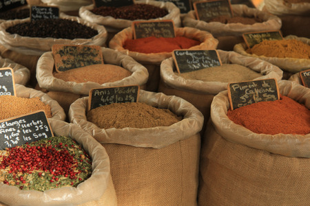 Herbs and spices at a market in the Provence photo