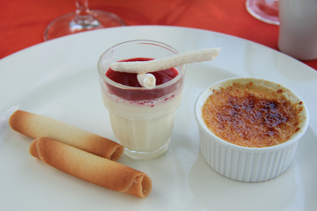 blancmange: Traditional French desserts: Creme brûlée and  blancmange Stock Photo