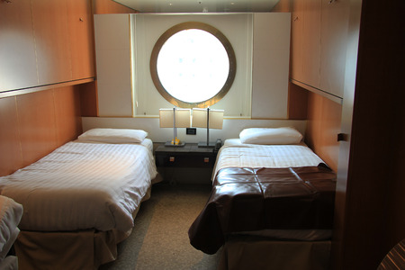 standard inside cruise ship cabin with window Editorial