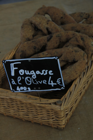 French bread at a market stall in the Provence photo