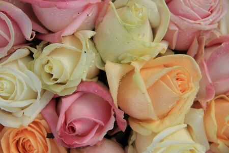 Pastel roses in various colors in a mixed wedding arrangement photo