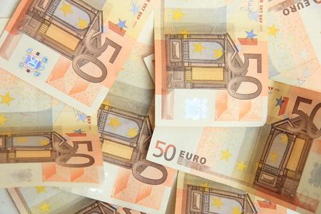 billets euros: 50 billets en euros Banque d'images