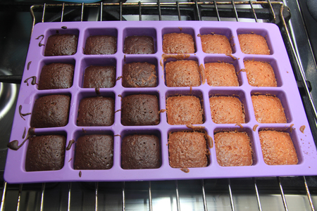 mini oven: Cooked mini cakes in a tray, just out of the oven.