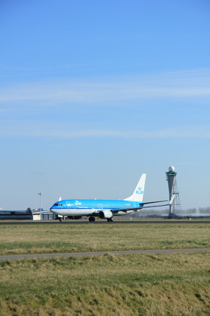 klm: March, 22nd 2015, Amsterdam Schiphol Airport PH-BXC KLM Royal Dutch Airlines Boeing 737-800 take off from Polderbaan Runway
