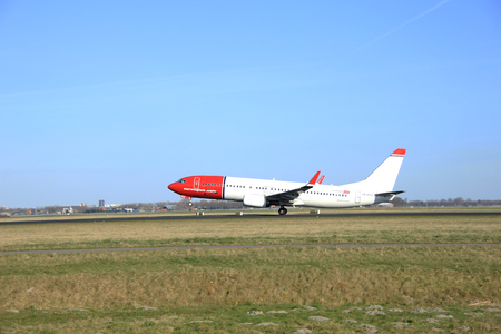 polderbaan: March, 22nd 2015, Amsterdam Schiphol Airport LN-NGO Norwegian Air Shuttle Boeing 737-800  take off from Polderbaan Runway