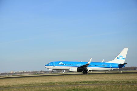 klm: March, 22nd 2015, Amsterdam Schiphol Airport PH-BXL KLM Royal Dutch Airlines Boeing 737-8K2(WL)  take off from Polderbaan Runway