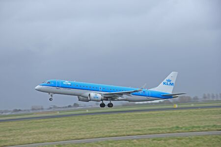 schiphol: March, 27th 2015, Amsterdam Schiphol Airport  PH-EZM KLM Cityhopper Embraer ERJ-190 Polderbaan Runway