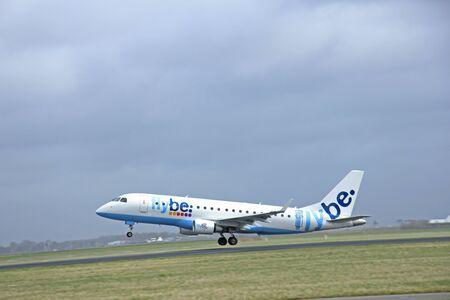 schiphol: March, 27th 2015, Amsterdam Schiphol Airport  G-FBJD Flybe Embraer ERJ-175STD (ERJ-170-200)  Polderbaan Runway Editorial