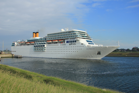 ijmuiden: june 13rd, 2014. IJmuiden: Costa Neo Romantica leaving dock on journey to the North Sea