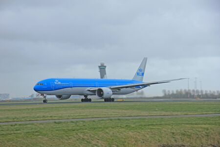 polderbaan: March, 27th 2015, Amsterdam Schiphol Airport PH-BVA KLM Royal Dutch Airlines Boeing 777-306(ER) Polderbaan Runway Editorial