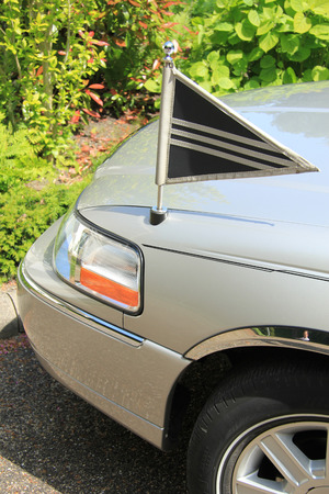 hearse: Detail of a silver grey hearse