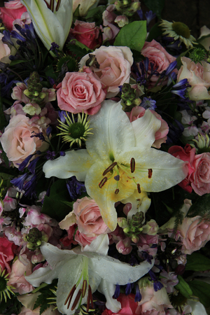 tiger lily: White tiger lily in a bridal arrangement Stock Photo