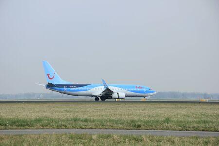 polderbaan: March, 24th 2015, Amsterdam Schiphol Airport  PH-TFC Arke Boeing 737-800 landing on Polderbaan Runway