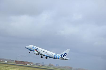 polderbaan: March, 27th 2015, Amsterdam Schiphol Airport  G-FBJD Flybe Embraer ERJ-175STD (ERJ-170-200)  Polderbaan Runway Editorial