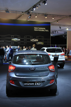 autos: Amsterdam, The Netherlands - April 23, 2015: Hyundai i10 at the 2015 Amsterdam AutoRAI motorshow. The 2015 Amsterdam motorshow was running from April 17 until April 26, in the RAI event center in Amsterdam, The Netherlands.