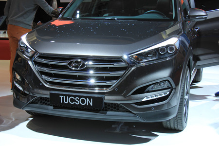 tuscon: Amsterdam, The Netherlands - April 23, 2015: Hyundai Tuscon at the 2015 Amsterdam AutoRAI motorshow. The 2015 Amsterdam motorshow was running from April 17 until April 26, in the RAI event center in Amsterdam, The Netherlands. Editorial