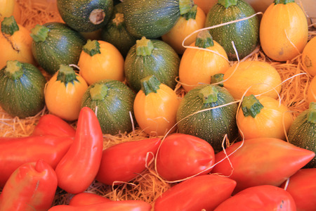 courgettes: Courgettes and tomatoes at a market in the Provence