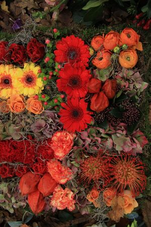 autumn arrangement: Gerberas and roses in an autumn arrangement Stock Photo
