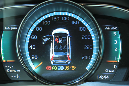 Digital dashboard of a modern car, showing all different functions Stock Photo - 39782991