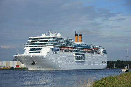 cruiseship: June 13rd, 2014. Velsen: Costa Neo Romantica on North Sea Canal towards docks Editorial