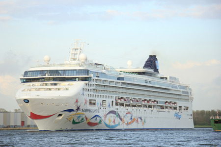 cruiseship: Velsen, The Netherlands - May 9, 2015: Norwegian Star.  The Norwegian Star is a cruise ship owned and operated by Norwegian Cruise Line, built in 2001 by the Meyer Werft shipyard in Papenburg, Germany.
