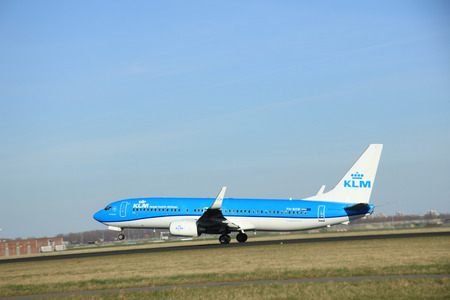 schiphol: March, 22nd 2015, Amsterdam Schiphol Airport PH-BXW KLM Royal Dutch Airlines Boeing 737-800    take off from Polderbaan Runway Editorial