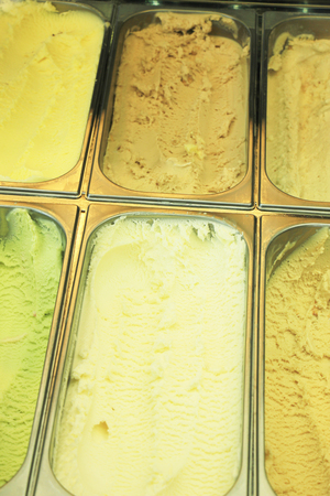 flavors: Different flavors of icecream in a gelateria