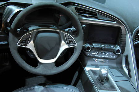 shades of grey: Modern car interior, luxurious materials in different shades of grey